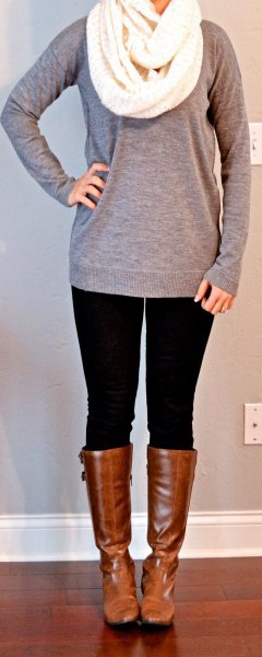 grey long sweater with white knit scarf
