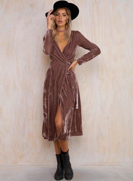 grey midi velvet wrap dress with black floppy hat