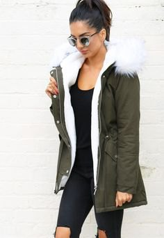 grey parka coat with all black outfit