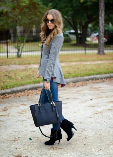 grey peplum blazer with black suede ankle boots