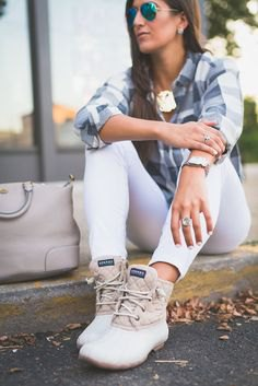grey plaid boyfriend shirt with white duck boots