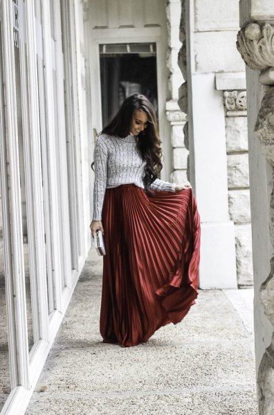 grey ribbed knit sweater with green maxi skirt