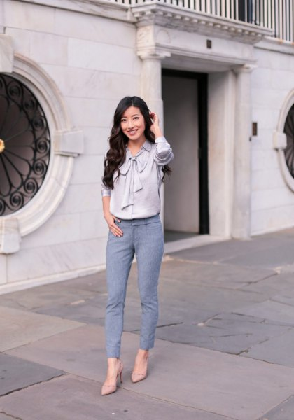 grey silk ribbon bow shirt with teal ankle pants