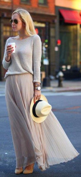 grey sweater with matching chiffon pleated maxi skirt