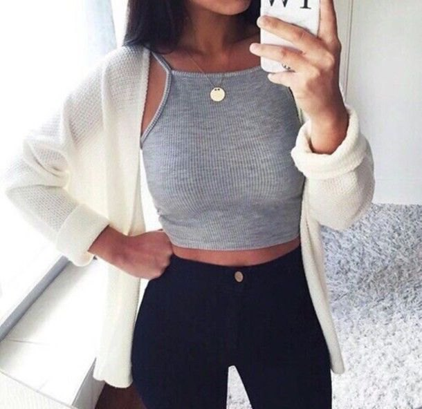 grey tank with white cardigan and black jeans