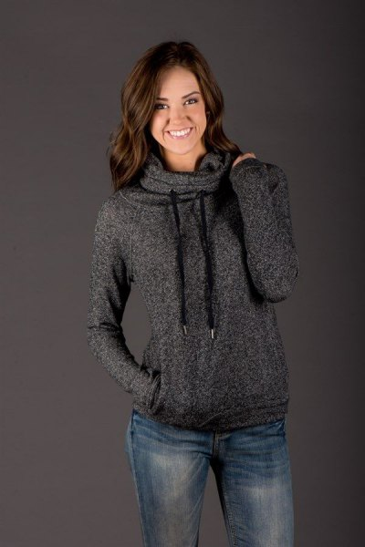 heather grey cowl neck hoodie with blue straight leg jeans