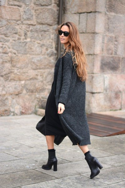 heather grey long cardigan with black midi shift dress