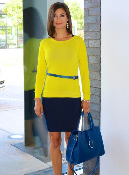 lemon yellow long sleeve t shirt with blue narrow belt