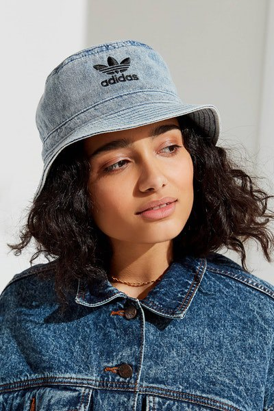 light blue chambray bucket hat with blue denim jacket