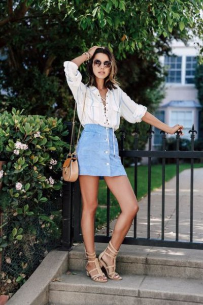 light blue mini skirt with white lace up linen shirt