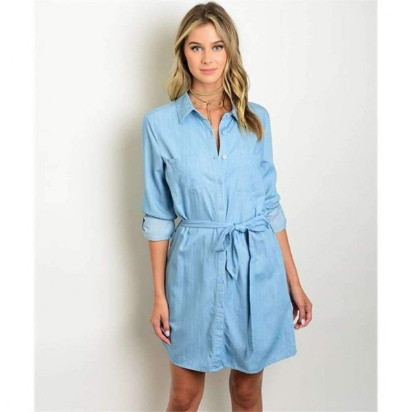 light blue tie waist tunic
