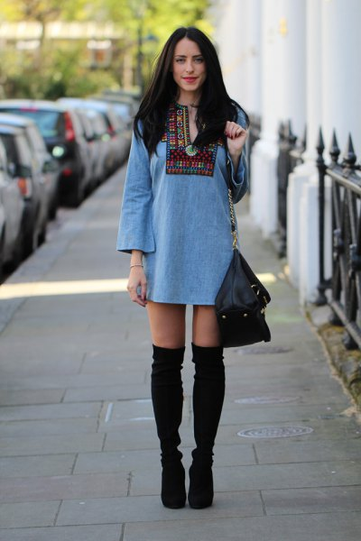 light blue tribal printed long sleeve denim tunic