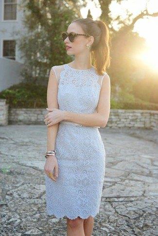 light grey lace scalloped hem belted midi dress