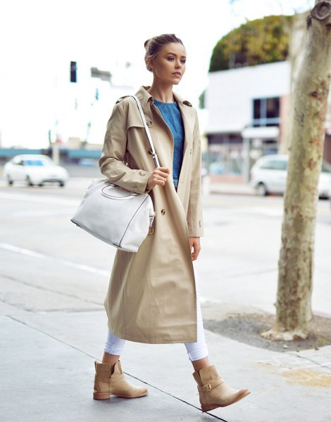maxi beige trench coat with chambray blouse