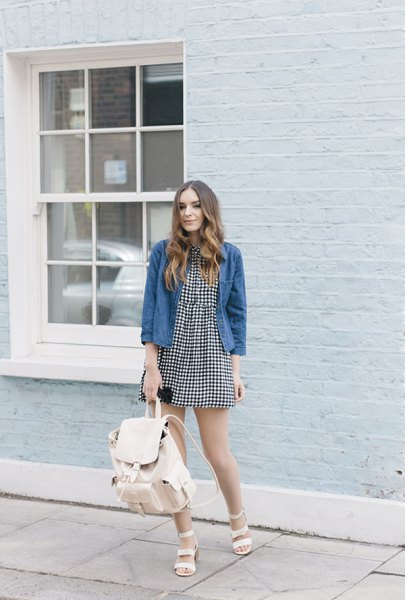 mini skater dress with blue unwashed denim jacket