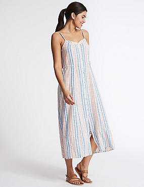 multiple colored vertical striped maxi flared dress
