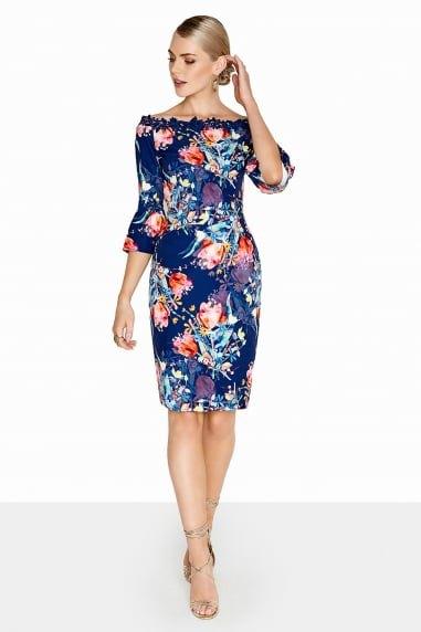 navy and orange floral printed boat neck knee length dress