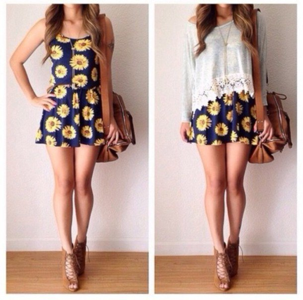 navy and yellow floral mini swing sundress with white lace top