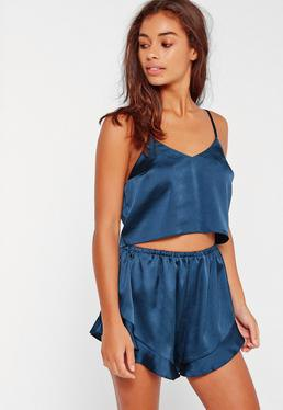 navy cropped camisole with flowy silk pajama shorts