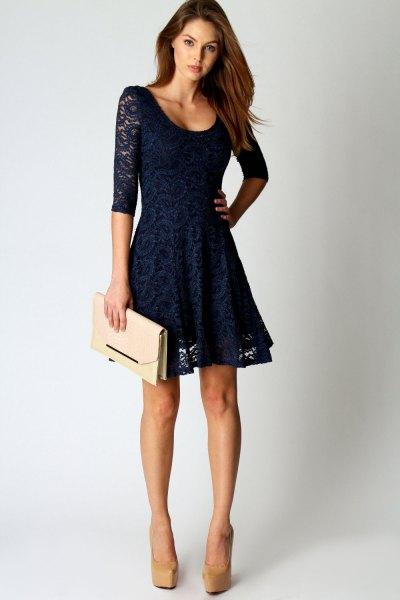 navy half sleeve lace mini skater dress