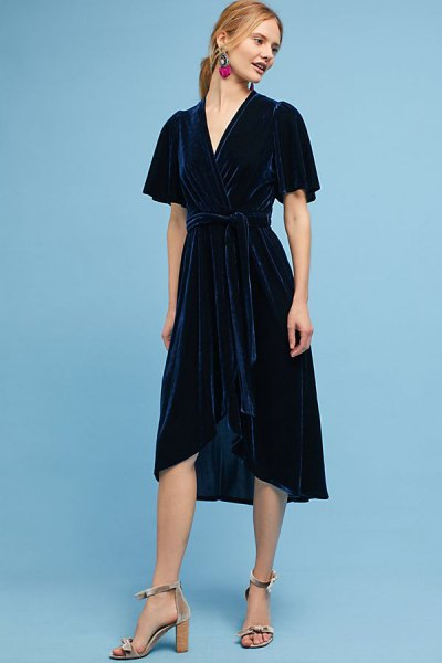 navy high low midi wrap dress with pink open toe heels
