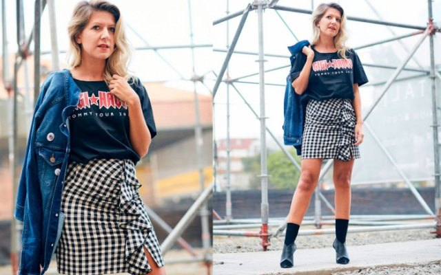 navy retro t shirt with checkered mini wrap skirt