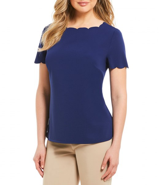 navy scalloped t shirt with pink skinny pants