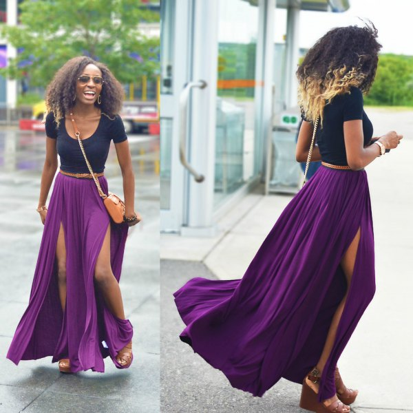 navy scoop neck form fitting tee with purple pleated double slit maxi skirt