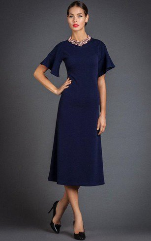 navy short sleeve midi flared dress