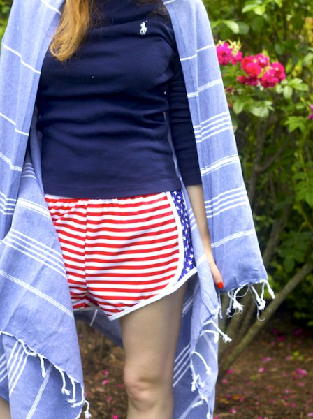 navy t shirt with red and white striped shorts and blue kimono