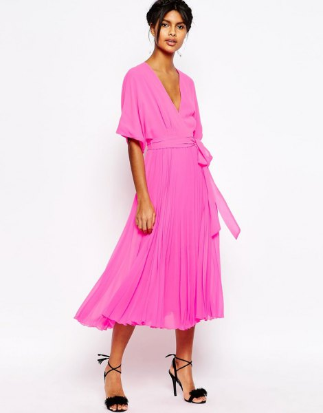 neon pink midi pleated tie waist wrap dress