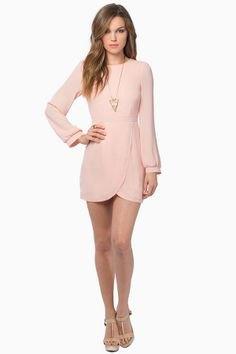 pale pink long sleeve mini tulip dress