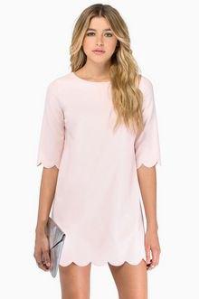 pale pink scalloped hem and sleeve t shirt dress