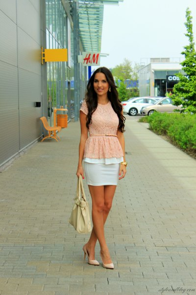 pale yellow belted peplum top with white mini bodycon skirt