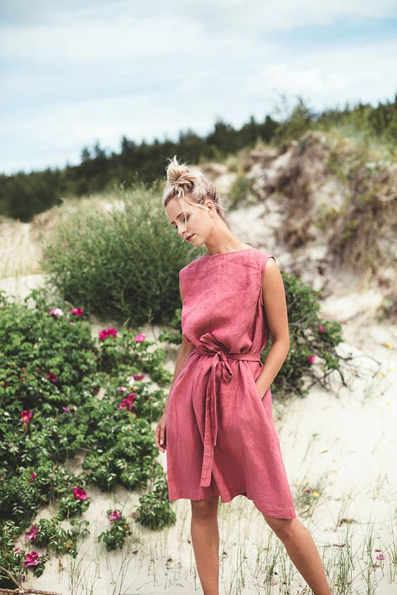 pink sundress linen