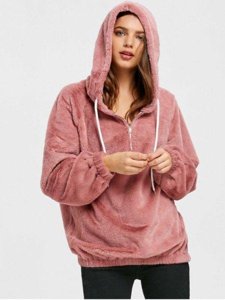 pink teddy half zip hoodie with black skinny jeans