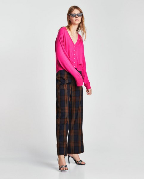 pink v neck cardigan with green and navy plaid pants