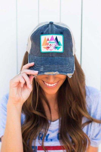 printed denim baseball cap with pink print tee