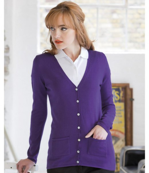 purple v neck cardigan with white collar shirt