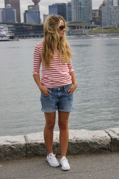 red and white striped long sleeve tee with denim shorts