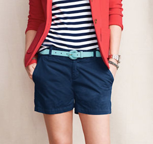 red blazer with striped tee and navy blue chino shorts