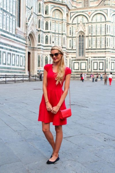 red cap sleeve mini skater sundress