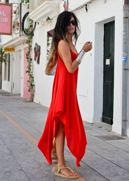 red high low maxi sundress