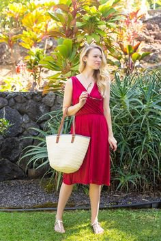 red midi flared midi sundress with white straw purse