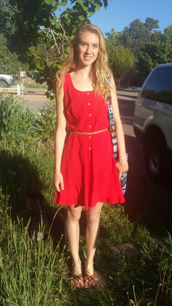 red mini flared tank sundress