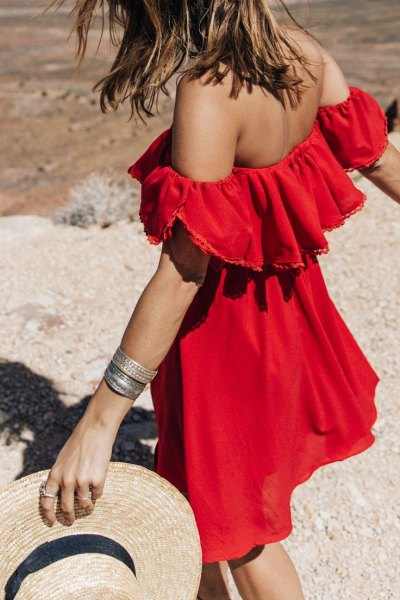 red off the shoulder ruffle shoulder mini sundress