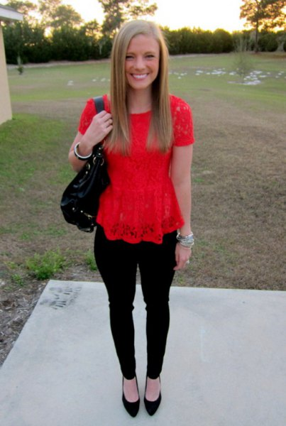 red peplum lace top with black ballet flats