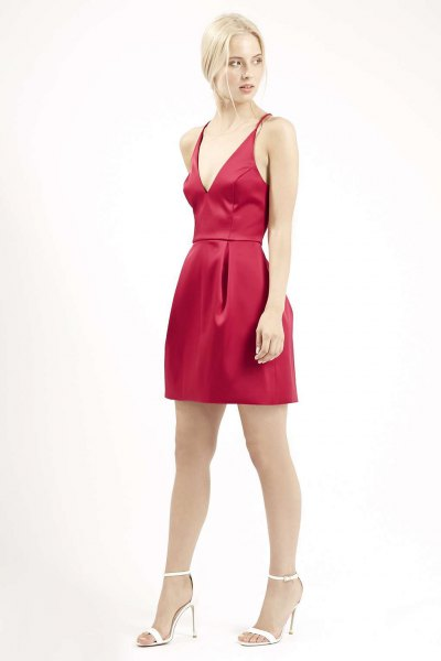red silk mini skater plunge dress
