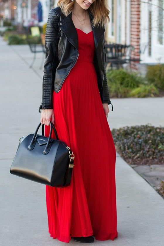 red strapless dress leather jacket