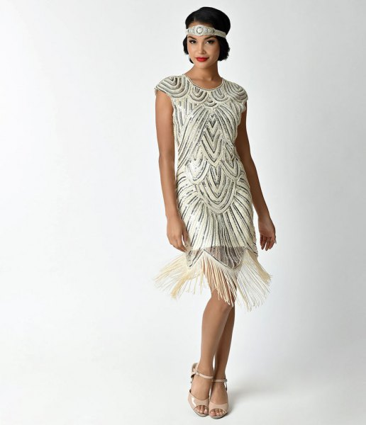 rose gold and white sequin fringe flapper mini dress with pink open toe heels